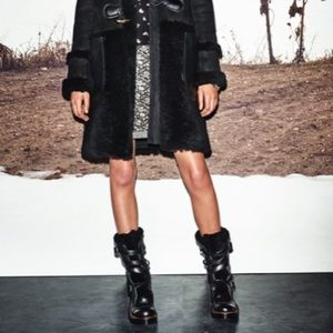 Coach Moto Boots Black Leather/ Shearling 6.5
